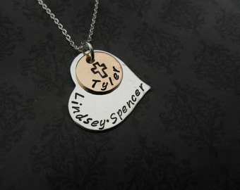 Hand stamped jewelry FILLED WITH LOVE sterling heart with disc