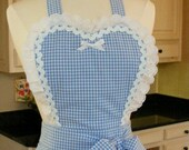 Sweetheart Retro Apron, Dorothy Blue and White Gingham, Lace and Ric Rac