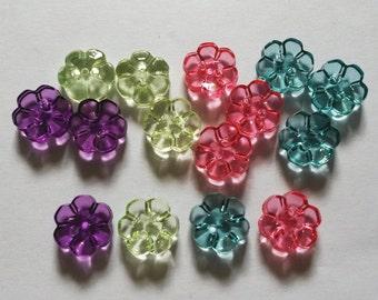 30 pcs mix colors flower buttons size 12 mm
