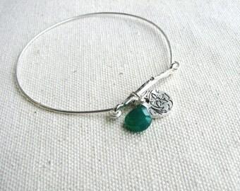 Twig Bracelet Metal Bangle Bracelet Silver Twig Emerald Green Onyx Stone Jewel Flower Charm Naturalist Bridal Minimalist Simple Stacking