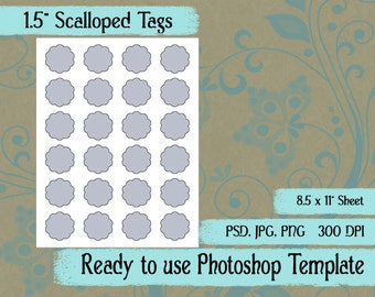 """Scrapbook Digital Collage Photoshop Template, 1 1/2"""" Scalloped Tags"""