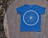 Bike Wheel Organic T-Shirt  American Apparel Tee for Kids in Galaxy Blue.