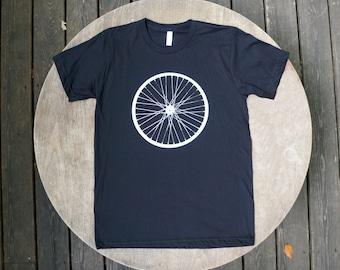 Giant Bicycle Wheel Screen Print American Apparel Men's Tee / Hipster Tshirt