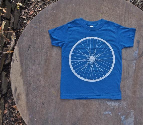Bike Wheel Organic T-Shirt  American Apparel Tee for Kids in Galaxy Blue.