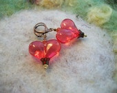 Valentine Heart Earrings, Large Red Heart