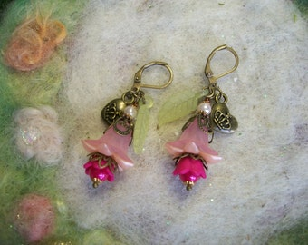 Pink Fuchsia Earrings with Lucite Flowers and Copper Filigree