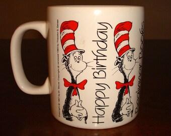 Vintage CAT in the HAT Mug 30th  Birthday Beginner Books STAFFORDSHIRE England 1987