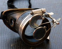 Steampunk goggles monocle eyepatch costume biker glasses clear lens cyber gothic