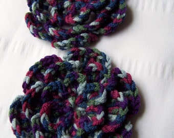 Crocheted flower 3 inch merino wool midnight oasis