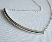 Curved Bar Necklace, Sterling Silver, Silver Tube, Minimalist, Everyday, Silver Bar, Perfect Gift