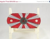 60% off specials Leather barrette in red and silver