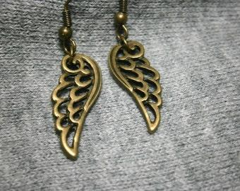 Wing Earrings Bronze Antique Drop Angel Wing Earrings