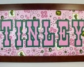 John Deere Girl's Name Sign - Unframed 11x14, 10x20 or 8x20 Insert - Pink Western Print - Other Styles Available