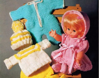 """Vintage Knitting pattern for Dolls outfits 12"""" 31cm dolls. Bronte 691"""