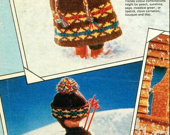 "Vintage Knitting pattern for 12"" 31cm dolls.complete Skiing outfit."