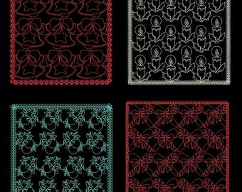 CHRISTMAS QUILTING BACKGROUNDS - 30 Machine Embroidery Designs Instant Download 4x4 5x7 6x10 hoop (AzEB)