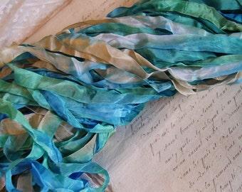 NeW - Hand Dyed half inch ribbon - SEASHORE, 5 yards