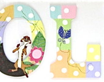 Personalized 9 inch wood hand-painted letters - Girly Lion King Theme - Reserved for Monica