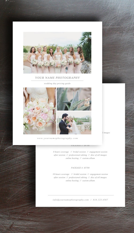 wedding photography price list pricing guide template