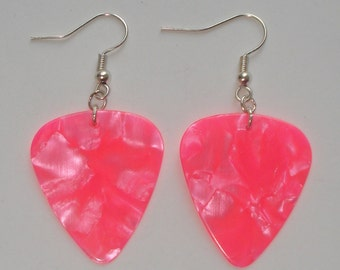 Hot pink pearl guitar picks earrings