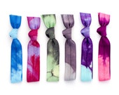 The Iridescent Tie Dye Hair Tie Package - 6 Elastic Grey Lavender Tie Dye Hair Ties that Double as Bracelets by Mane Message on Etsy