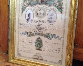 Victorian Marriage Certificate, Original Frame, 1880's