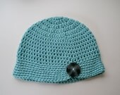 Sea Foam Blue Button Beanie with Large Grey Button - Vintage Style