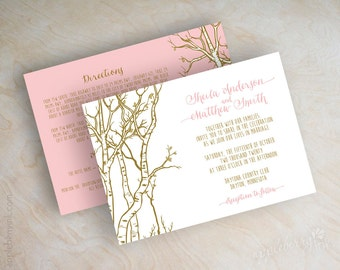 Pink and gold fall birch tree wedding invitations, birch tree wedding invitation, pink and gold invitation, fall invitations, shimmer, Anoka