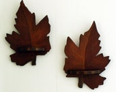 Handmade Handpainted Leaf Art - Leaf Wall Art  - Mini Shelves - Cabin Decor Fall Leaves - Folk Art Leaves - Library Shelves - Art for Men