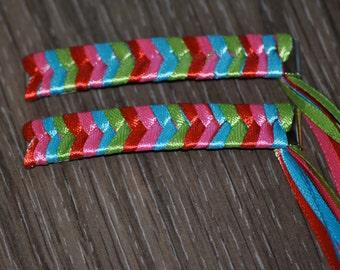 Braided Ribbon Barrettes - Four Colors 2 Barrettes