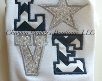 Cowboys Inspired LOVE Star Applique Shirt