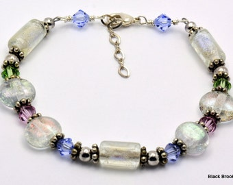 Sale / On Sale / Clearance Jewelry / Jewelry on Sale / Marked Down / Dichroic Glass Beaded Silver Plated Bracelet - BR00140