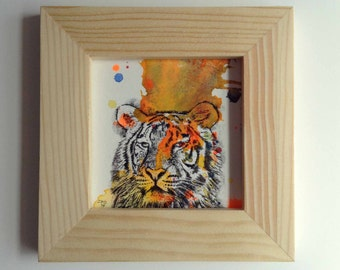 Portrait of a Tiger Art Original Animal Watercolor Painting 3x3 Miniature Painting Includes Frame Great Room Decor For Kids