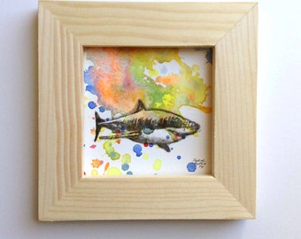 Great White Shark Art Original Animal Illustration Watercolor Painting 3x3 Miniature Painting Includes Frame