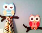 Owl bathroom decor, owl towel racks, owl nursery decor, owl clothing rack, wooden owls, kid's towel rack, children's bathroom decor