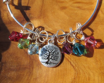 Mother's Day - Tree of Life -- Adjustable Bangle Bracelet - Personalize with all the birthstones for Mom, Grandma, Great Grandma- Great gift
