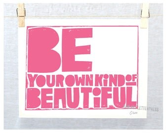 Quotes for Girls,Be Your Own Kind of Beautiful, Wall art Teenage Girl, Girls room Decor, Typography, nursery Decor, Princess Pink