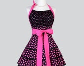 Flirty Chic Apron - Hot Pink and Black Polka Dots Three Layer Flirty Skirt Cute and Sexy Retro Womens Apron Sexy Cute Flirty Chic Apron