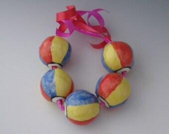 Beads, Ceramic Beads, Ceramic Beach Ball Beads, Ceramic Beach Ball Bead, Ceramic