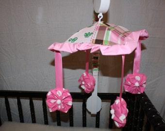 John deere pink dot crib mobile musical