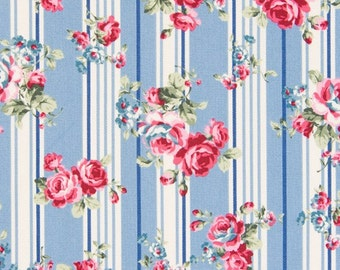 Cosmo Roses and Stripes on  Blue and Cream   Oxford Cloth AP35304-2C