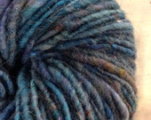 Handspun corespun yarn with all kinds of blue and turquoise, wool yarn, super bulky