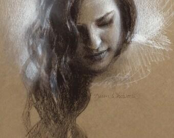 Original Charcoal Sketch Of Samantha By Karen Whitworth