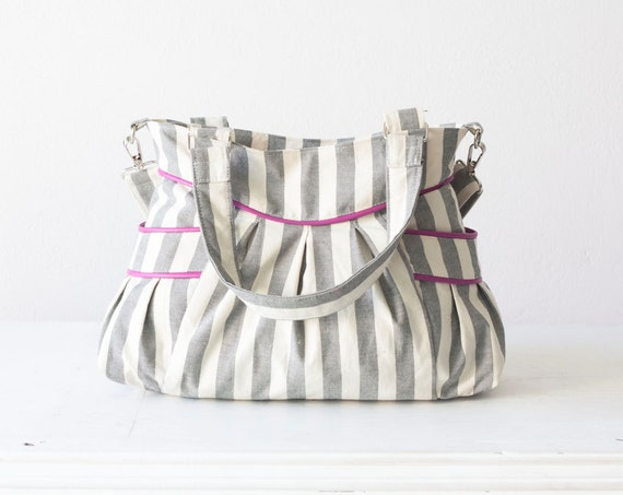 Crossbody bag, shoulder purse in stripe cotton and hot Pink leather - Elessa bag