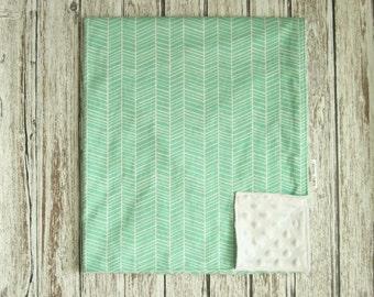 Mint Green Herringbone Baby Blanket, Modern Baby Blanket, Seafoam Green Herringbone