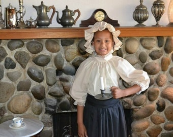 Ladies Colonial Dress Costume Civil War Pioneer Prairie with Skirt Mop Hat and Victorian Style Blouse