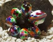 Handmade Lampwork Bead Set (7)   SUMMER JEWELS SWIRLS  shades of orange, green, blue and red
