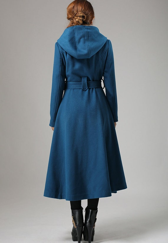 Blue coat wool coat swing coat womens coat long coat