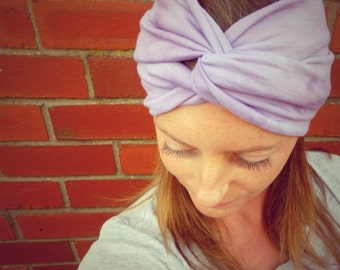 Deep Lavender Double-Up Jersey Turban Headband - Womens Organic Accessory - Hand Dyed - Summer Beach Hair - Ready To Ship