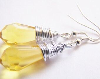 Caribbean Sunrise - Rich Yellow Glass Earrings - FREE shipping WAI - affordable earrings - A beautiful gift - beach - sale - Summer Spring